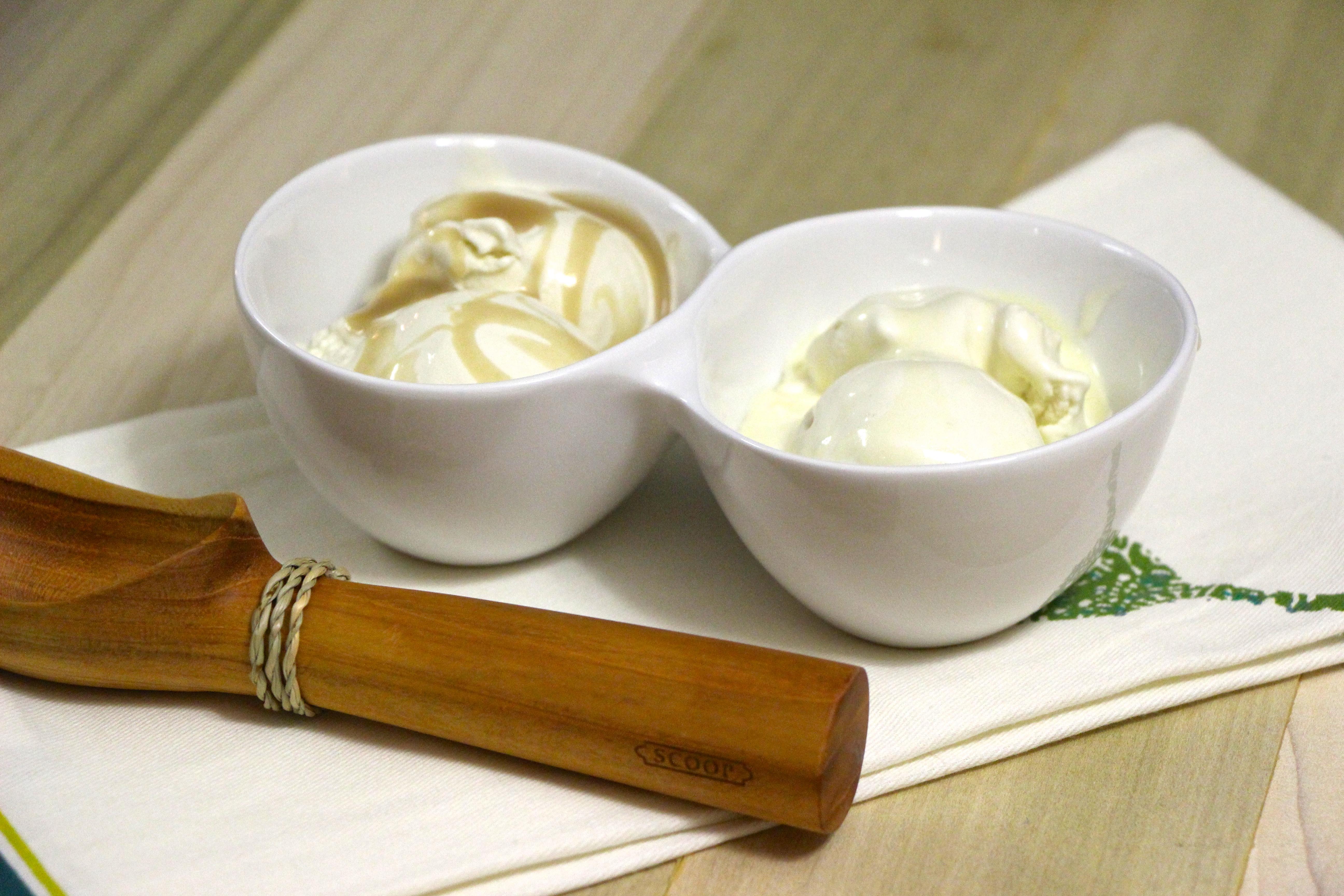 Coconut Milk Ice Cream with Caramel Sauce